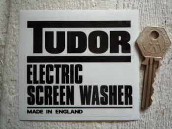 "Tudor Electric Screen Washer Sticker. 3.25""."