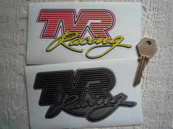 "TVR Racing Shaped Stickers. 5"" Pair."