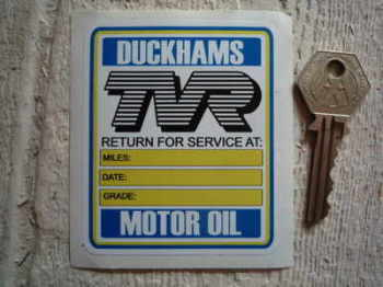 TVR Service with Duckhams Motor Oil Sticker. 3.25""