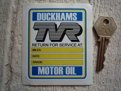 TVR Service with Duckhams Motor Oil Sticker. 2.75
