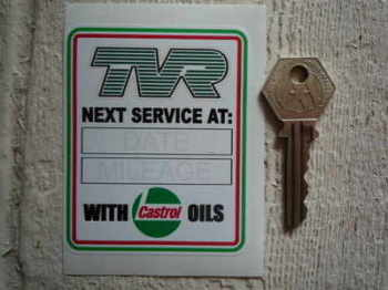TVR Service with Castrol Oils Sticker. 3.25""