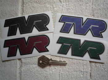 "TVR Striped Text Shaped Stickers. 4"" or 6"" Pair."
