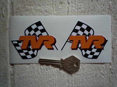 TVR Wavy Chequered Flag Stickers. 3