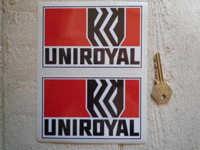 """Uniroyal Tyres Oblong Stickers. 5"""" Pair."""