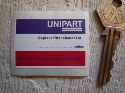 Unipart Service Sticker. 2