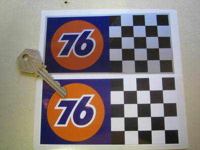 """Union 76 Chequered Race Stickers. 5"""" Pair."""
