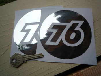 "Union 76 Cut Foil Stickers. 4"" Pair."