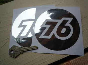 """Union 76 Cut Foil Stickers. 4"""" Pair."""