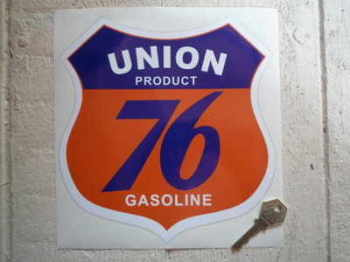 "Union 76 Gasoline Shield Sticker. 8""."