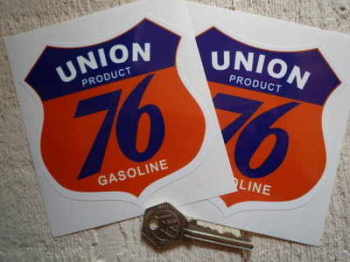 "Union 76 Gasoline Shield Stickers. 4"" Pair."