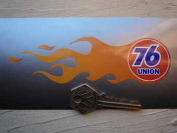 "Union 76 Handed Flame Stickers. 5.5"" Pair."