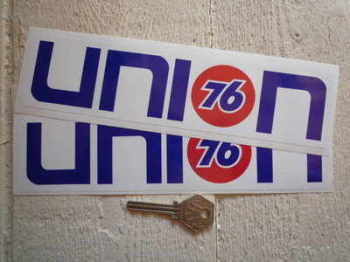 "Union 76 Text Nascar Style Stickers. 9"", 10"" or 12"" Pair."