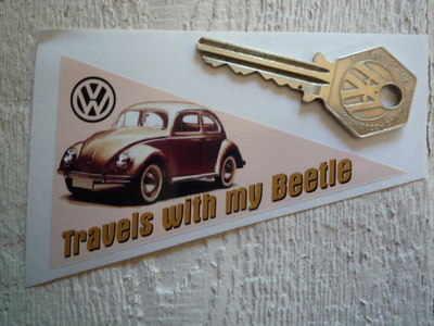 VW Volkswagen 'Travels with my Beetle' Travel Sticker. 4