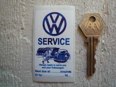 VW Volkswagen Blue & White Service Sticker. 1.5