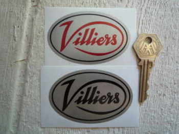 "Villiers Silver Oval Stickers. 3"" Pair."