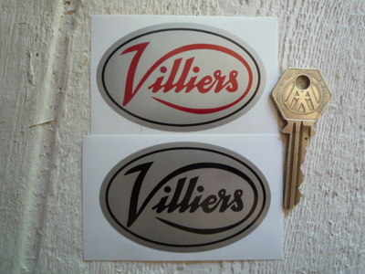 Villiers Silver Oval Stickers. 3