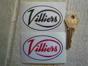 "Villiers White Oval Stickers. 3"" Pair."