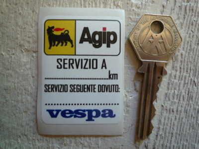 Vespa Agip Service Sticker. 1.5