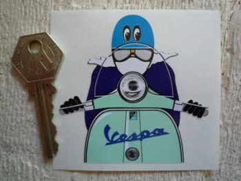 "Vespa Cafe Racer Pudding Basin & Moon Eyes Sticker. 3""."