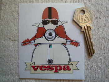 "Vespa Cafe Racer Pudding Basin & Scroll Sticker. 3.25""."