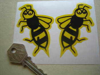 "Vespa Handed Shaped 'Little Wasp' Stickers. 3"" Pair."