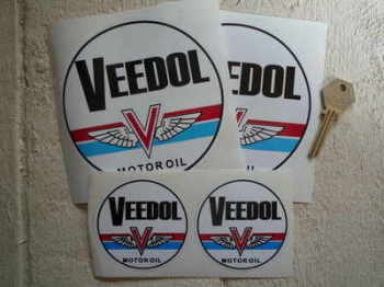 "Veedol Motor Oil Blue Band Circular Stickers. 2.5"" or 5"" Pair."