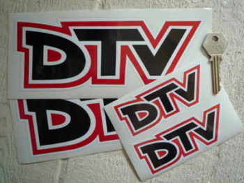"Vauxhall Dealer Team DTV Text Stickers. 4"" or 8"" Pairs."