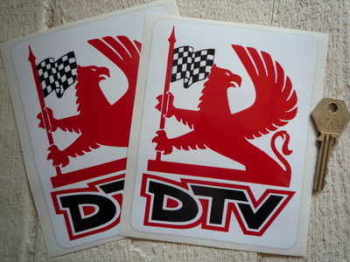 "Vauxhall Dealer Team DTV Griffin Logo Stickers. 4.5"" Pair."