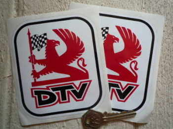 "Vauxhall Dealer Team DTV Griffin Logo with Black Outine Stickers. 4"" Pair."