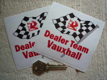 "Vauxhall Dealer Team DTV Wavy Flag Stickers. 4"" Pair."