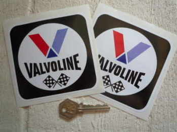 "Valvoline Oil Black Square Stickers. 4"" Pair."