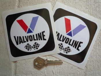 "Valvoline Oil Black Square Stickers. 4"" Pair."