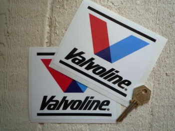 "Valvoline Oil Modern V & Streaks Stickers. 4.75"" Pair."