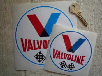 "Valvoline Old Style Round Stickers. 3"", 4"" or 6"" Pair."