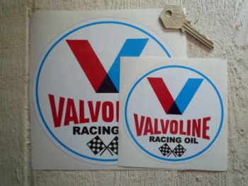 "Valvoline Racing Oil Round Stickers. 3"", 4"", 6"" or 8"" Pair."