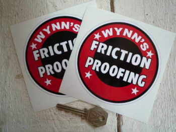 "Wynn's Friction Proofing Circular Stickers. 4"" or 6"" Pair."