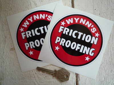 """Wynn's Friction Proofing Circular Stickers. 4"""" or 6"""" Pair."""