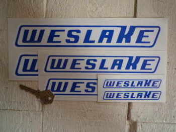 "Weslake Slanted Oblong Logo Stickers. 2.5"", 4"", 6"", 8"" or 10"" Pair."