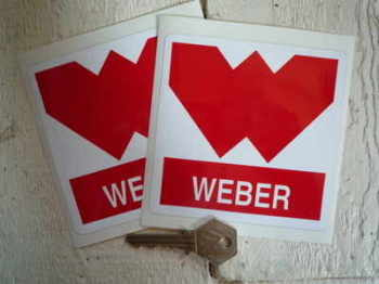 "Weber 'W' Red & White Stickers. 4""Pair."