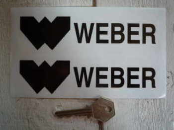 "Weber Oblong Black & Clear Stickers. 6"" Pair."