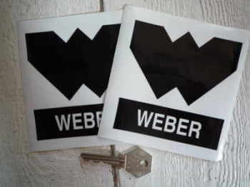 "Weber 'W' Black & Clear Stickers. 4""Pair."