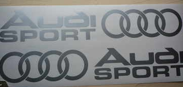 "Audi Sport Cut to Shape Stickers with Hoops. Various Colours. 6"" or 10"" Pair."