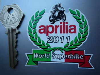 "Aprilia World Superbike 2011 Garland Sticker. 2.5""."