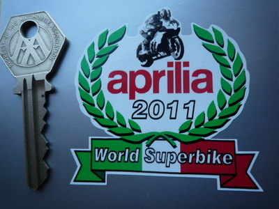 "Aprilia World Superbike 2011 Garland Sticker. 2.5""."