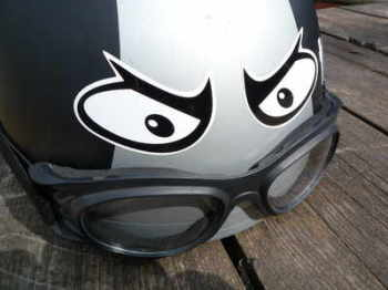 "Manic Moon Eyes Classic Helmet Stickers. 2"" or 3"" Pair."