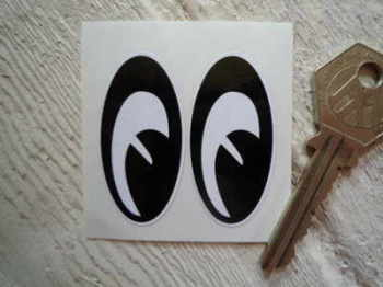"Mini Moon Eyes Classic Helmet Stickers. 1.75"" Pair."