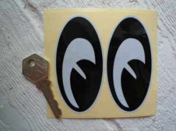 "Reflective Moon Eyes Classic Helmet Stickers. 2.5"" or 3.5"" Pair."