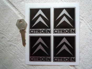 "Citroen Chevron Black & Silver/White Stickers. Set of 4. 2""."