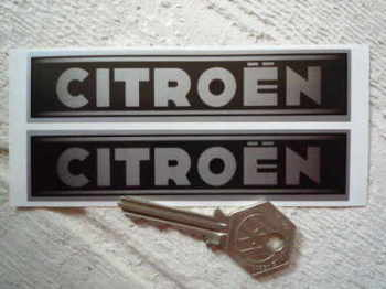 "Citroen Old Style Black & Silver Oblong Stickers. 4.5"" Pair."