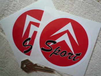 "Citroen Sport Circular Stickers. 4"" Pair."